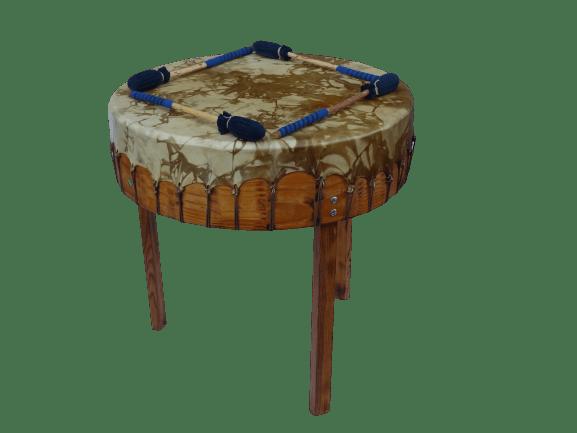 Gros tambour ou pow-wow drum en peau de biche
